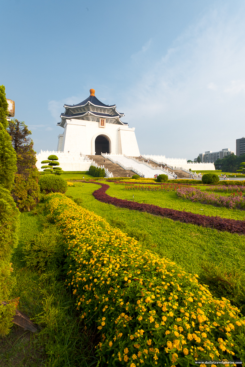 Chiang Kai Shek Memorial Hall with a Beautifully Manicured Garden - Taipei, Taiwan - Daily Travel Photos