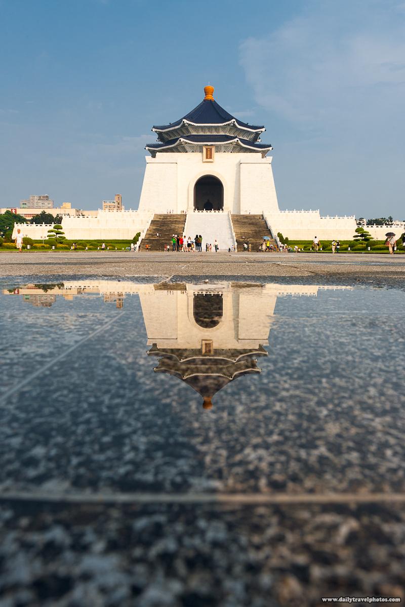 Chiang Kai Shek Memorial Hall Reflected Puddle Rain Water - Taipei, Taiwan - Daily Travel Photos