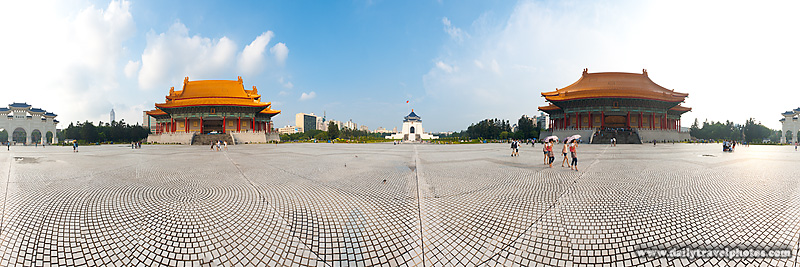 Panorama Liberty Square Chiang Kai Memorial Hall, National Concert Hall and National Theater - Taipei, Taiwan - Daily Travel Photos