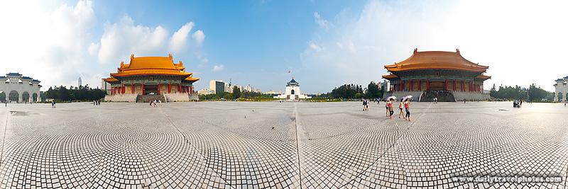 Panorama Liberty Square Chiang Kai Memorial Hall, National Concert Hall and National Theater - Taipei, Taiwan - Daily Travel Photos