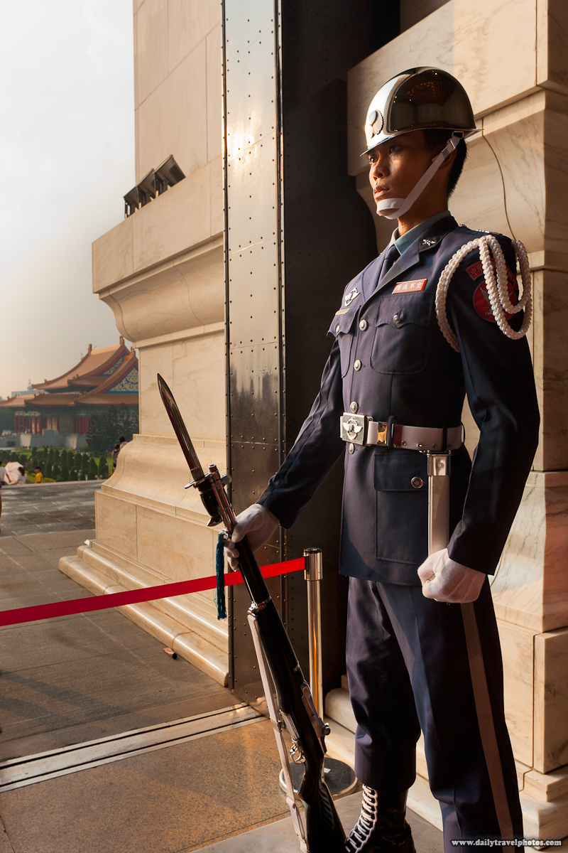 Taiwanese Soldier Absolutely Still at Entrance to Chiang Kai Shek Memorial Hall - Taipei, Taiwan - Daily Travel Photos