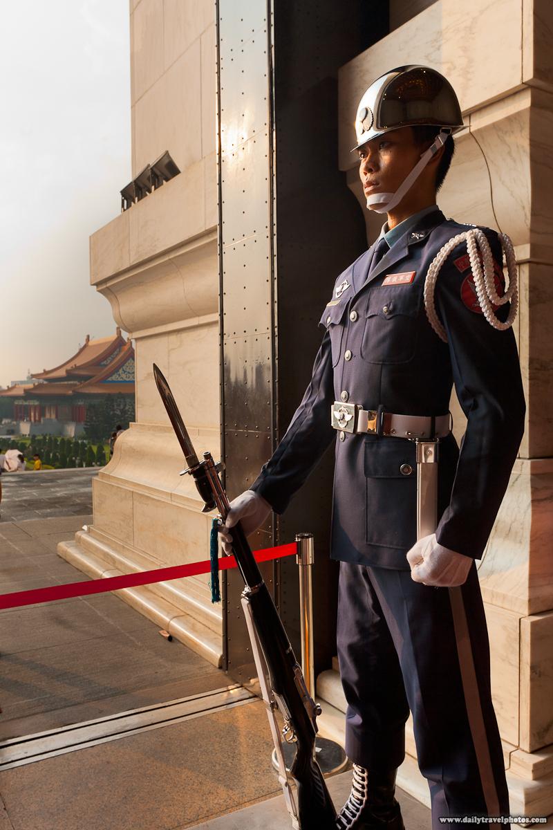 Taiwanese Soldier Absolutely Still at Entrance to Chiang Kai Shek Memorial Hall - Taipei, Taiwan - Daily Travel Photos