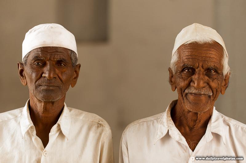 Portrait of Two Muslim Beggars - Bijapur, Karnataka, India - Daily Travel Photos