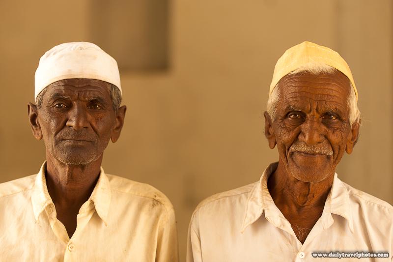 Portrait of Two Muslim Beggars Before Post Production - Bijapur, Karnataka, India - Daily Travel Photos