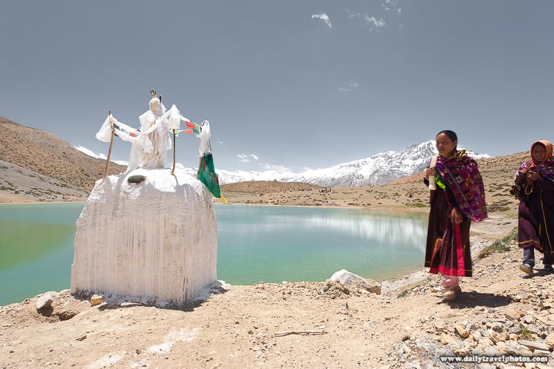 Tibetan Pilgrims Walk Around Holy Lake Above Dhankar in the Himalayas - Dhankar, Himachal Pradesh, India - Daily Travel Photos