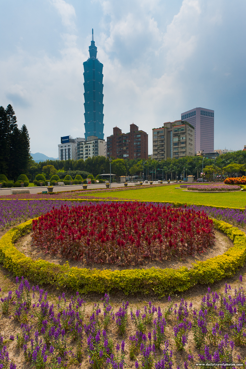 Taipei 101 and Landscape Garden of Flowers - Taipei, Taiwan - Daily Travel Photos