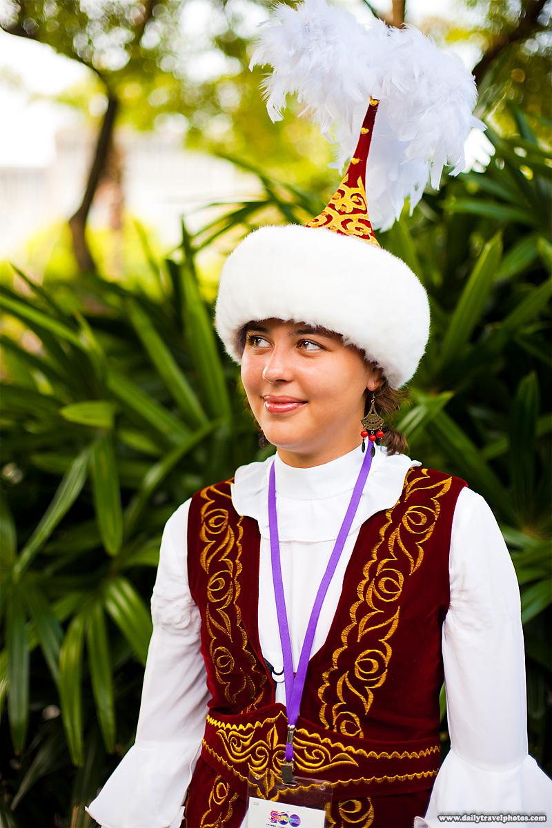 Beautiful Kazakh Girl Wearing Traditional Costume of Kazakhstan - Taipei, Taiwan - Daily Travel Photos