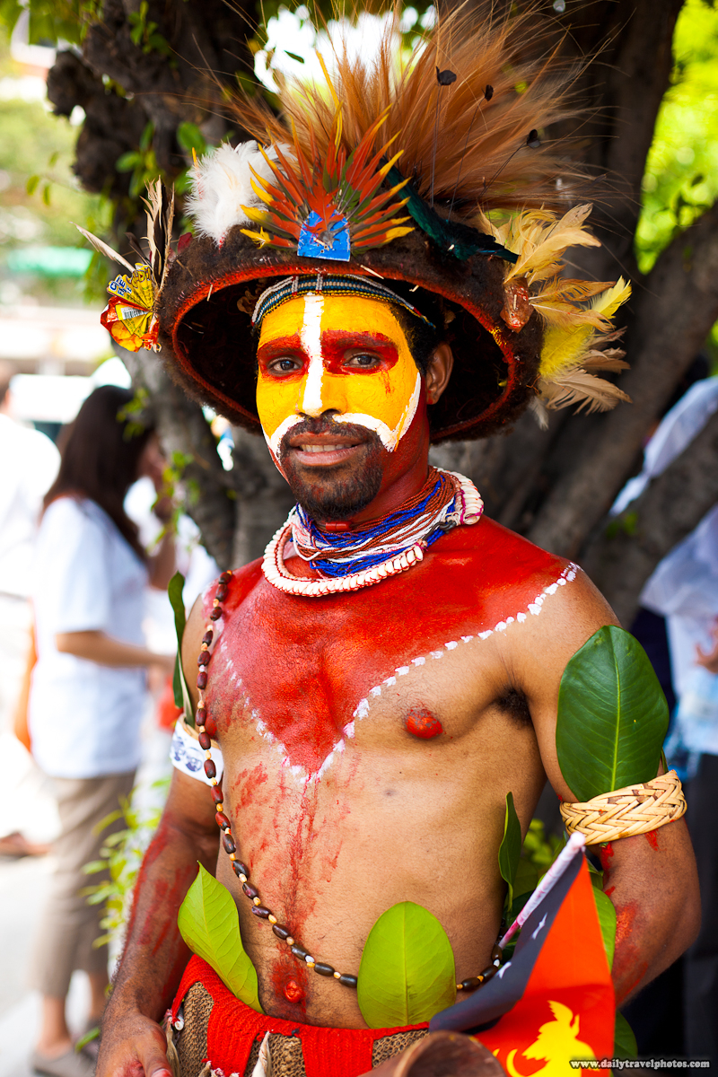 Papua New Guinea Tribesman Painted and Fully In Traditional Tribal Clothes - Taipei, Taiwan - Daily Travel Photos
