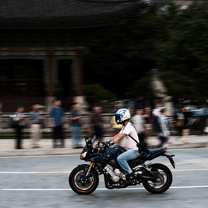 Blurred Motion of a Motorcycle in Downtown - Seoul, South Korea - Daily Travel Photos