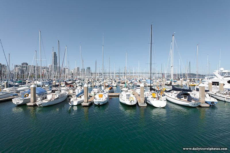 San Francisco Bay Bridge Marina Yachts Docked - San Francisco, California, USA - Daily Travel Photos