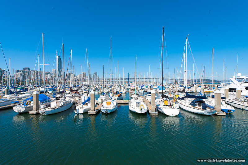 San Francisco Bay Bridge Marina Yachts Docked Pre-Processed - San Francisco, California, USA - Daily Travel Photos