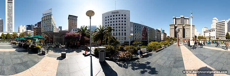 User-controlled Panorama of Union Square - San Francisco, California, USA - Daily Travel Photos