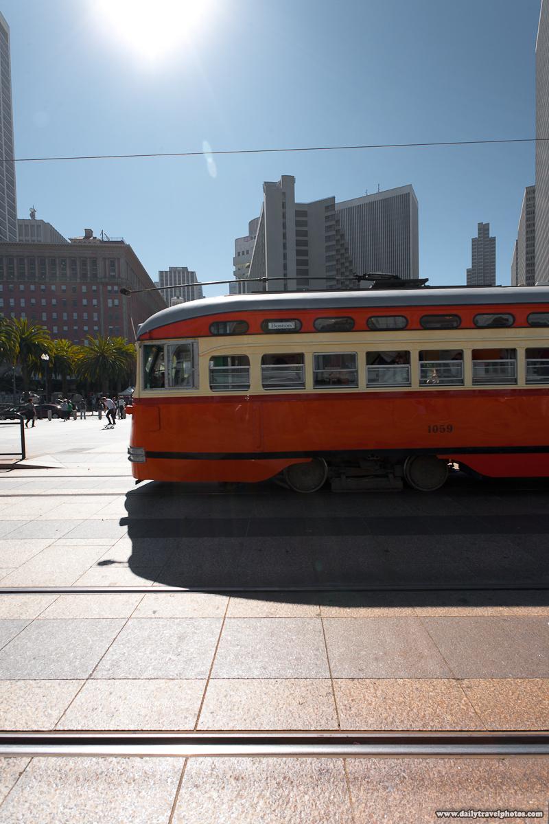 F Market Orange Boston Tram of SF Muni Public Transportation - San Francisco, California, USA - Daily Travel Photos