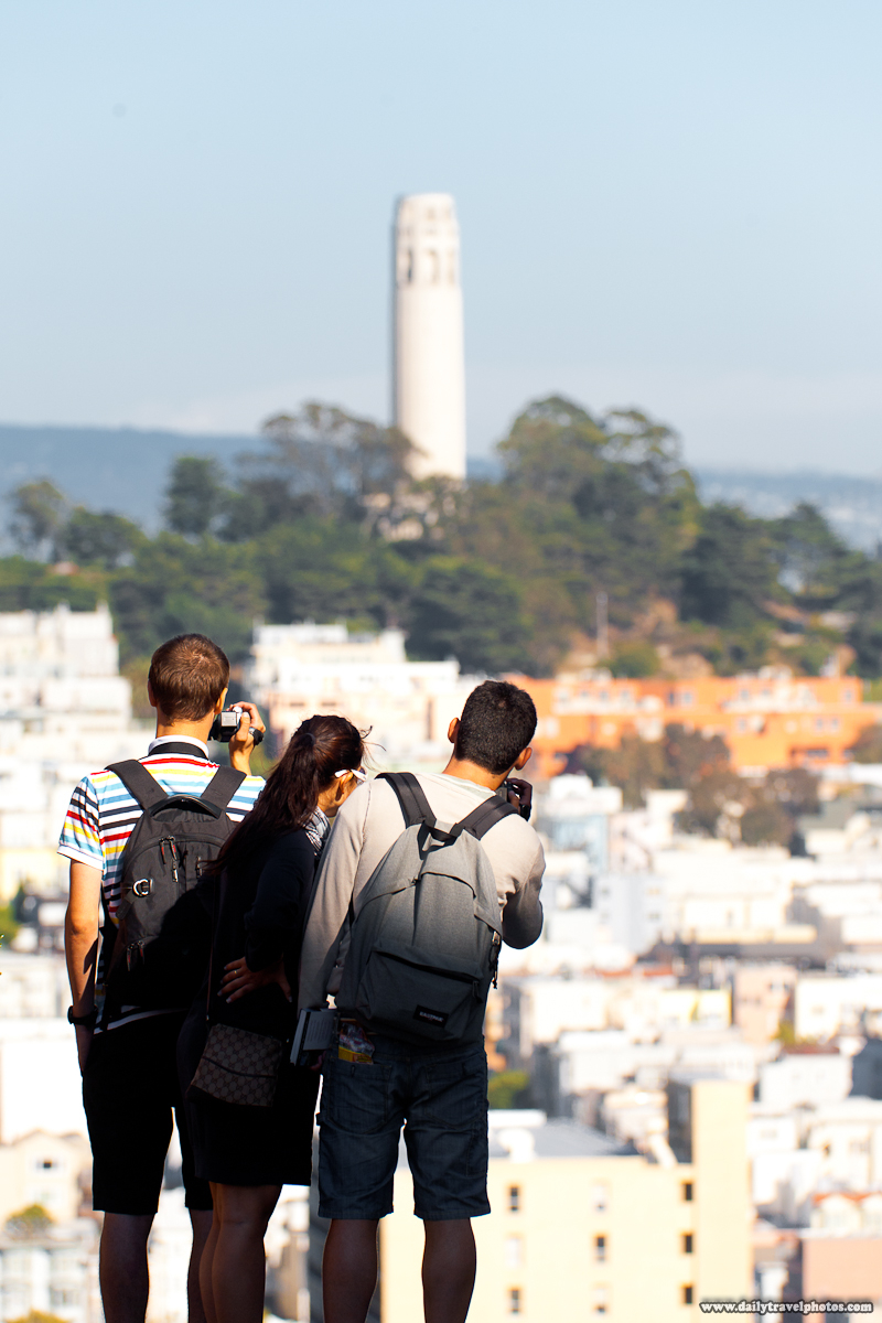 Tourists Photographing Coit Tower from Lombard Street - San Francisco, California, USA - Daily Travel Photos