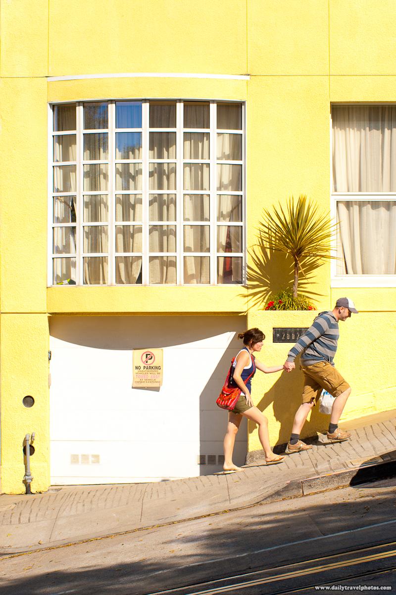 Tourists Walking Steep Inclined Street - San Francisco, California, USA - Daily Travel Photos