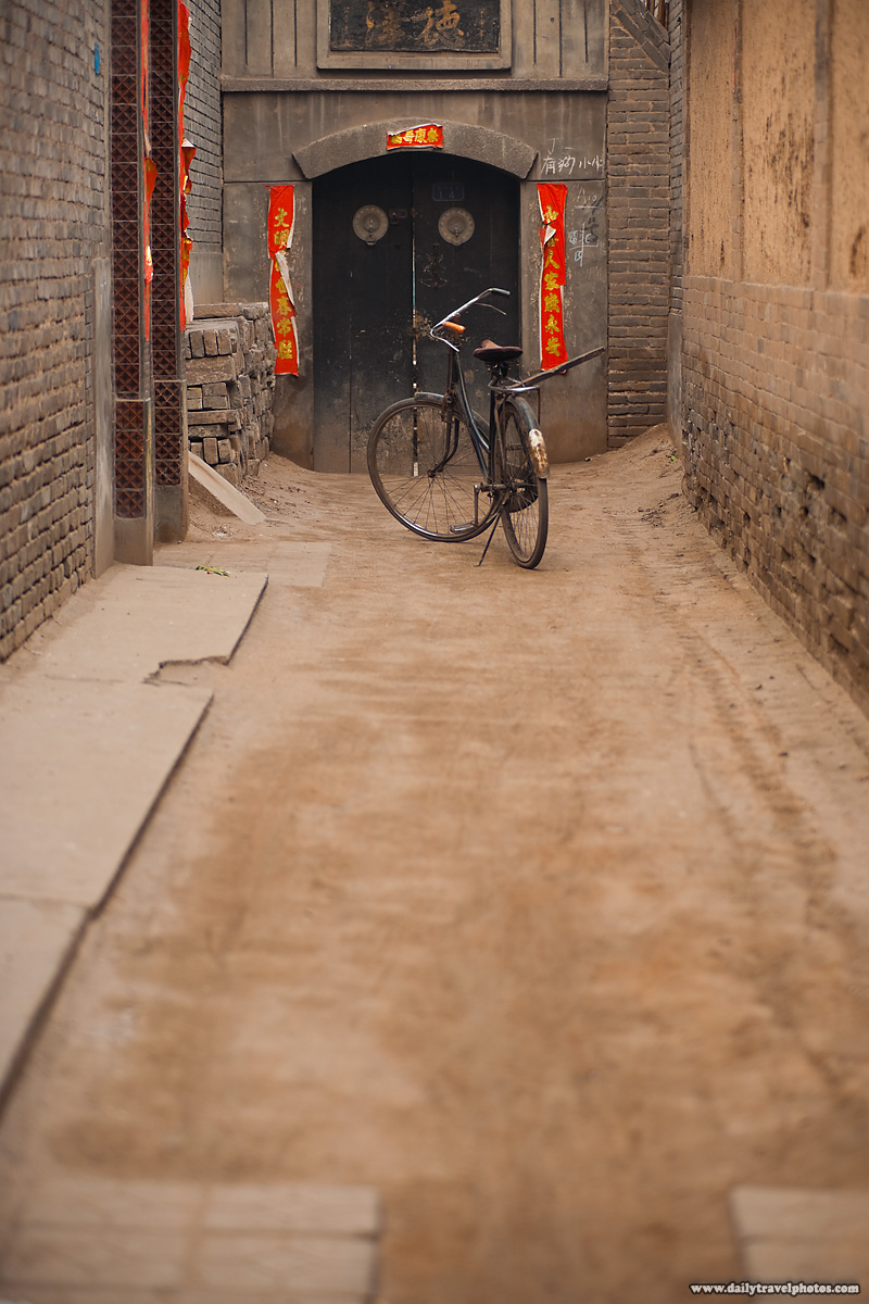 Old Bicycle Parked at end of Traditional Chinese Street Alley - Pingyao, Shanxi, China - Daily Travel Photos