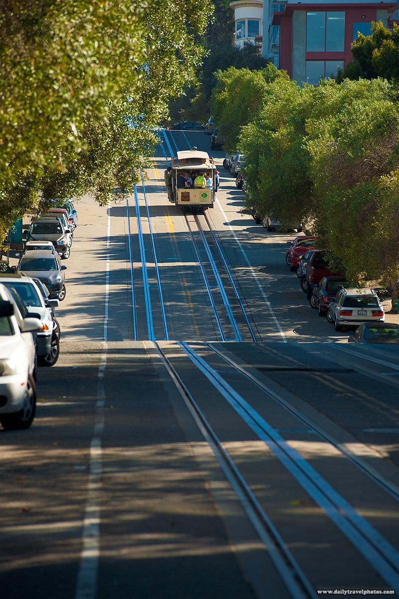 Cable Car Climbs Uphill on Steep Hill Hyde Street - San Francisco, California, USA - Daily Travel Photos