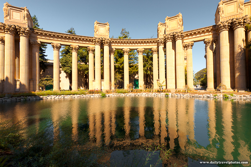 Corinthian Columns of Palace of Fine Arts Reflected in the Pond - San Francisco, California, USA - Daily Travel Photos