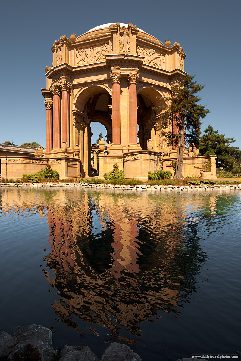 Central Dome of Palace of Fine Arts Reflected in Pond Water - San Francisco, California, USA - Daily Travel Photos
