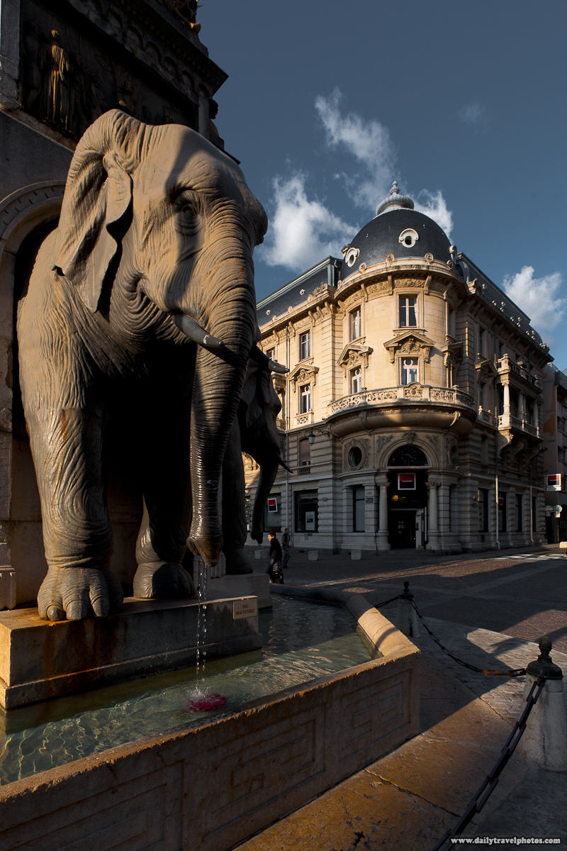 Elephant Fountain in Downtown - Chambery, France - Daily Travel Photos