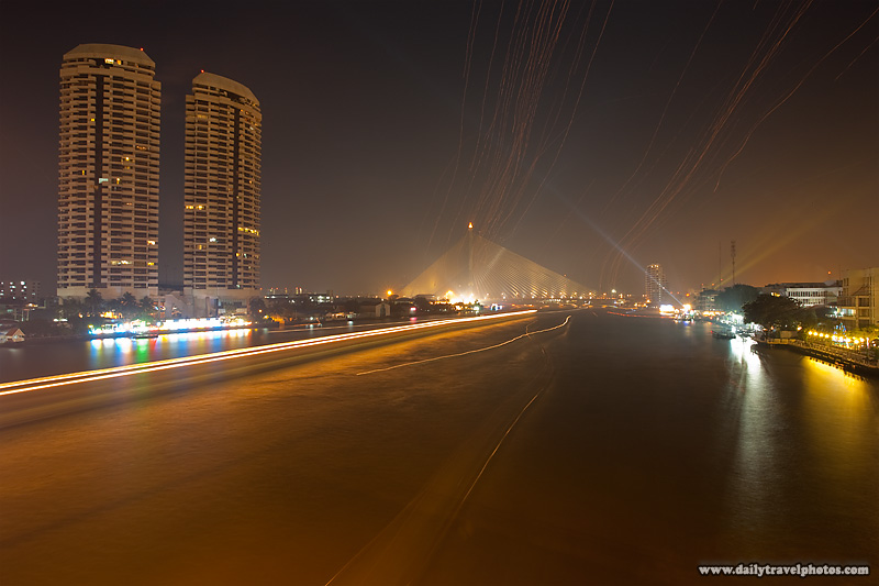 Loi Krathong Lanterns Streak Through Sky Long Exposure - Bangkok, Thailand - Daily Travel Photos