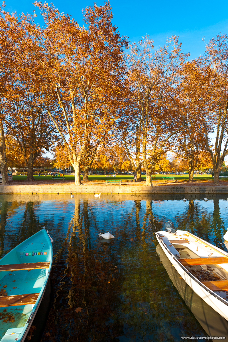 Autumn Colors of Trees near Canal and Park - Annecy, Haute-Savoie, France - Daily Travel Photos