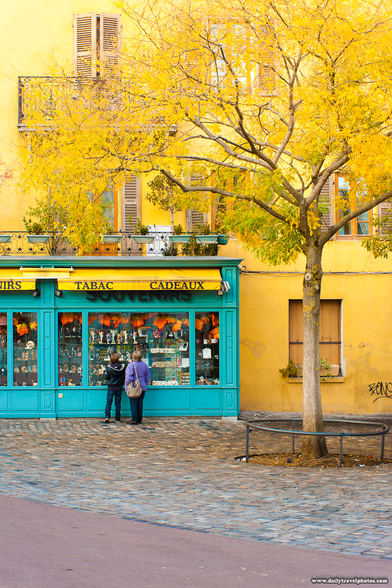 Matching Yellow Building Wall and Yellow Autumn Leaves - Annecy, Haute-Savoie, France - Daily Travel Photos
