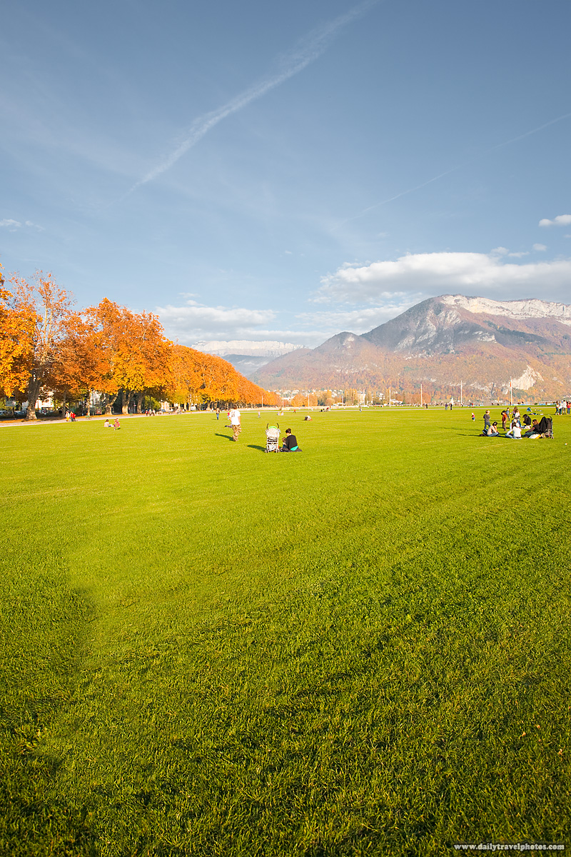 Open Park and Manicured Lawn at Entrance to Lake - Annecy, Haute-Savoie, France - Daily Travel Photos