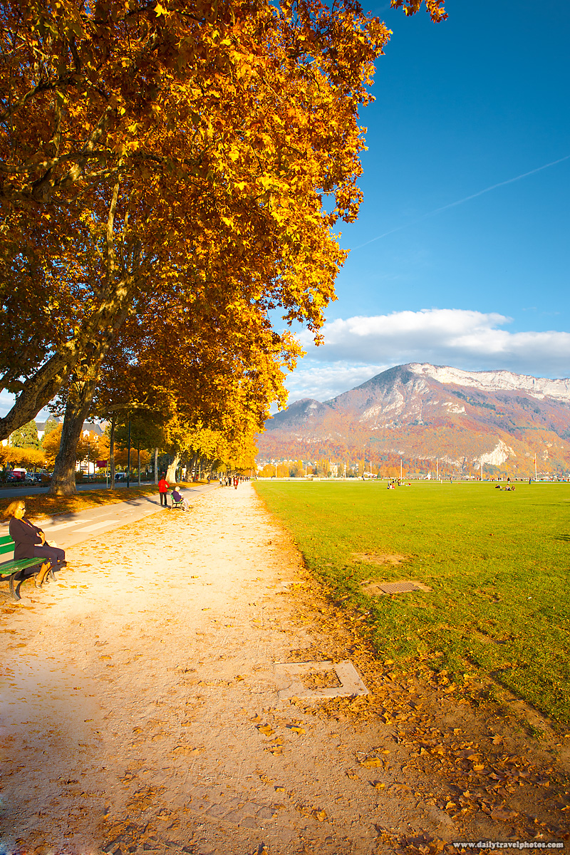 Park Path and Mountains near Annecy Lake - Annecy, Haute-Savoie, France - Daily Travel Photos