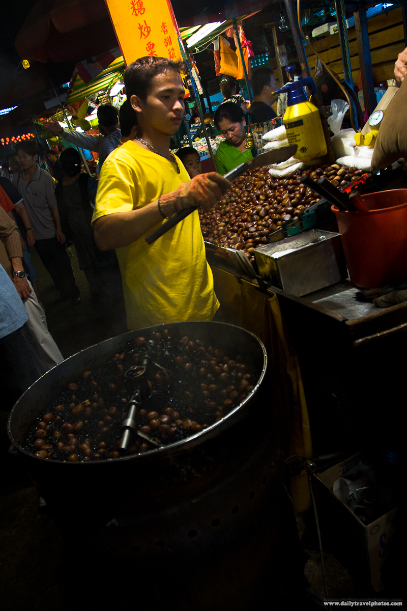 Night Market Chestnut Vendor in Chinatown - Kuala Lumpur, Malaysia - Daily Travel Photos