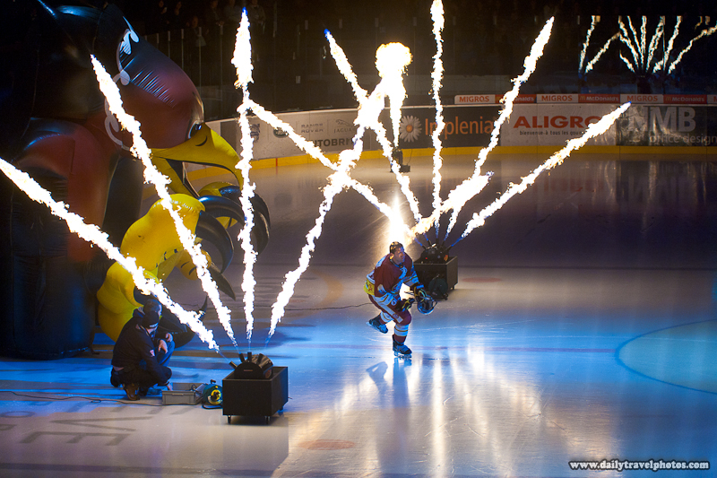 Geneva-Servette Wild Eagles Ice Hockey Player Introductions with Pyrotechnics  - Geneva, Switzerland - Daily Travel Photos