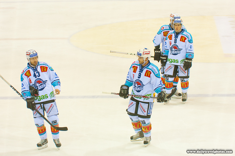 Rapperswil-Jona Lakers Ice Hockey Players Covered in Advertisements - Geneva, Switzerland - Daily Travel Photos