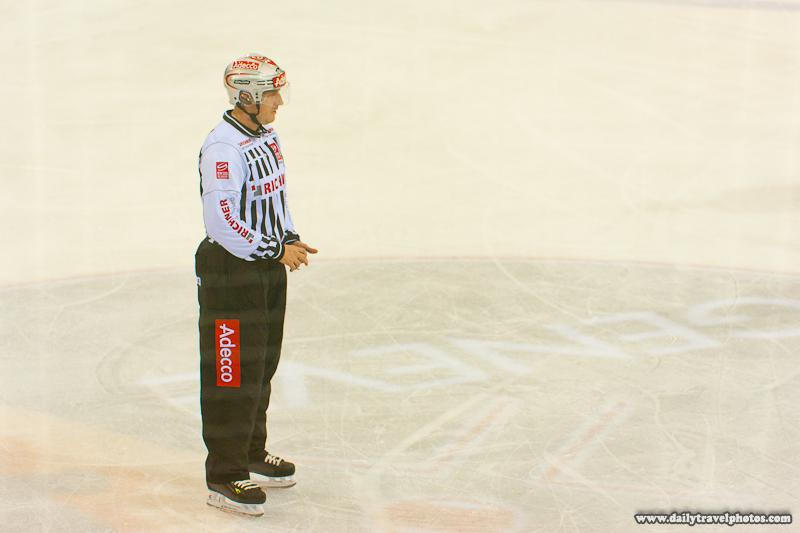 Swiss Professional Ice Hockey Referee Covered in Advertisements - Geneva, Switzerland - Daily Travel Photos