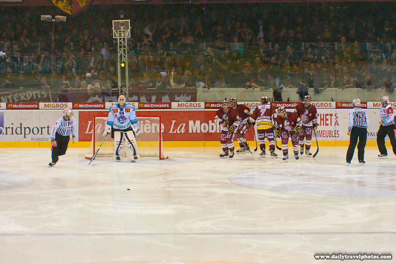Second Goal Scored Geneva-Servette Wins 2-1 Against Rapperswil-Jona - Geneva, Switzerland - Daily Travel Photos