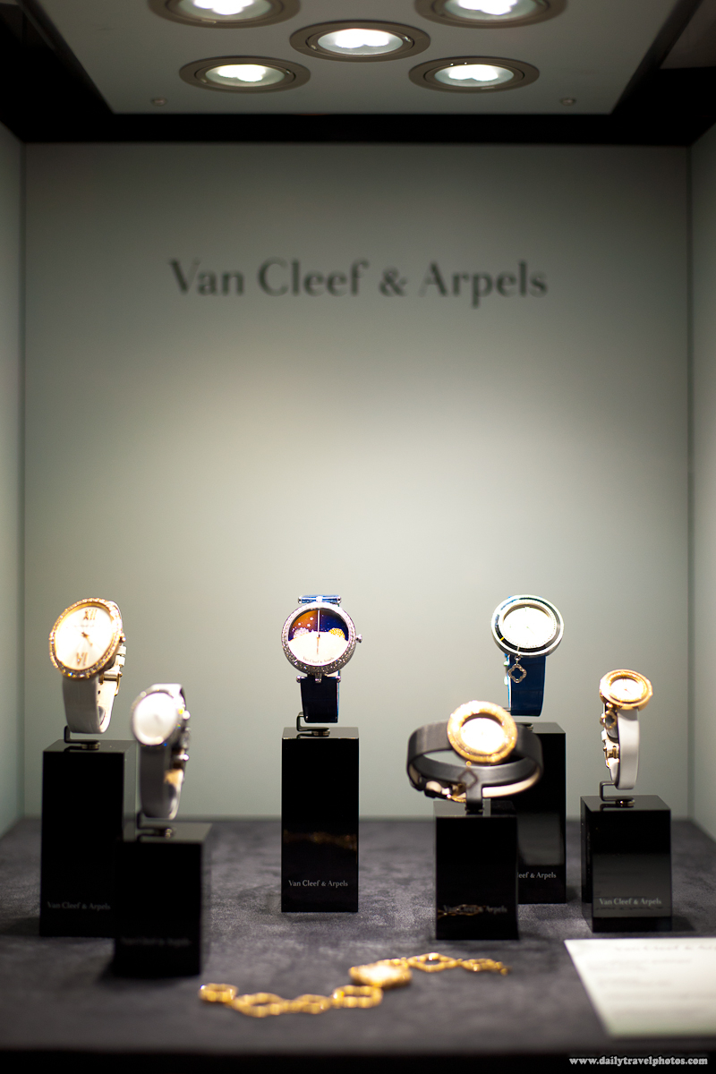 Several of Van Cleef Arpels Watches in Display Case at The Watches Day - Geneva, Switzerland - Daily Travel Photos