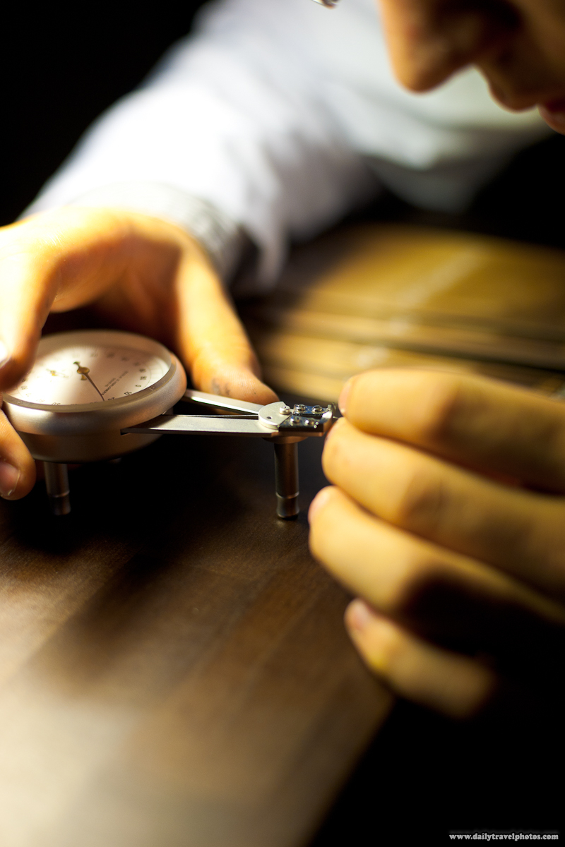 Micrometer Caliper Measuring a Tiny Swiss Watch Part - Geneva, Switzerland - Daily Travel Photos