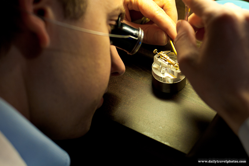 Watchmaking Demonstration Showing Fine Instruments and Coordination for Fixing Swiss Watches - Geneva, Switzerland - Daily Travel Photos