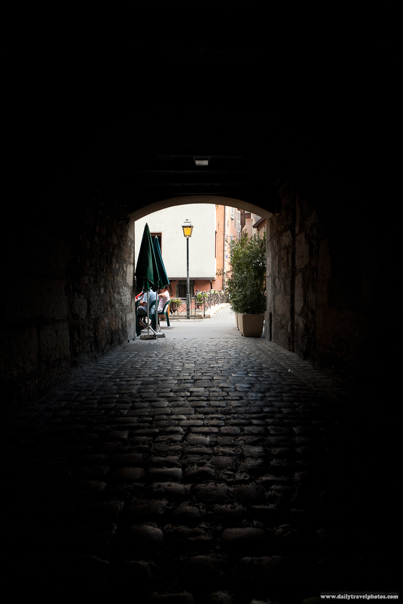 Old Town Tunnel Cobblestone Path - Annecy, Haute-Savoie, France - Daily Travel Photos