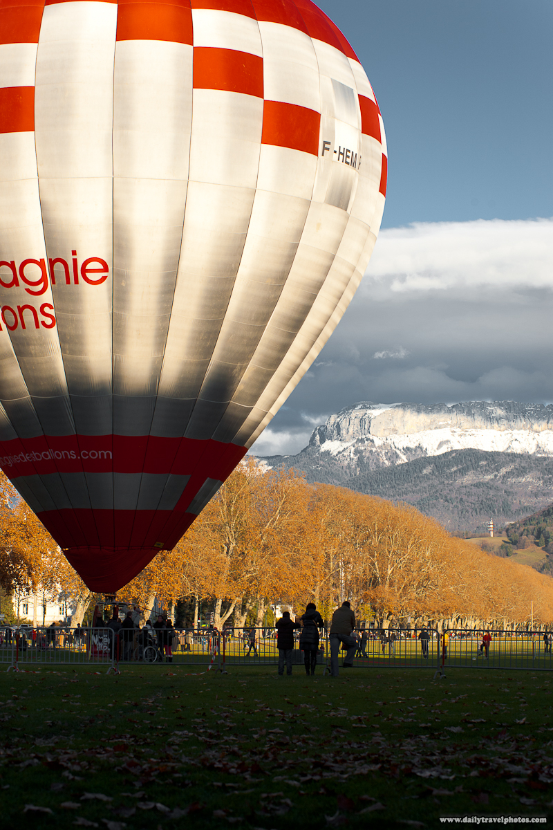 Tourist Hot Air Balloon on Ground Loads Another Load of People - Annecy, Haute-Savoie, France - Daily Travel Photos