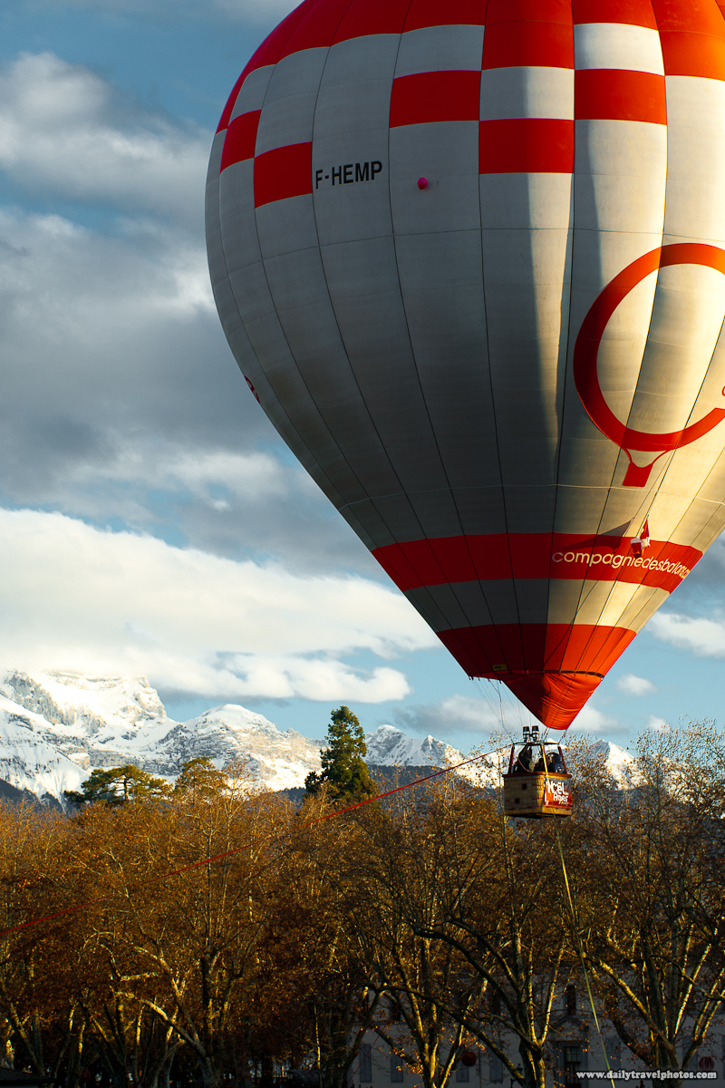 Hot Air Balloon Hovering Over French Alps - Annecy, Haute-Savoie, France - Daily Travel Photos