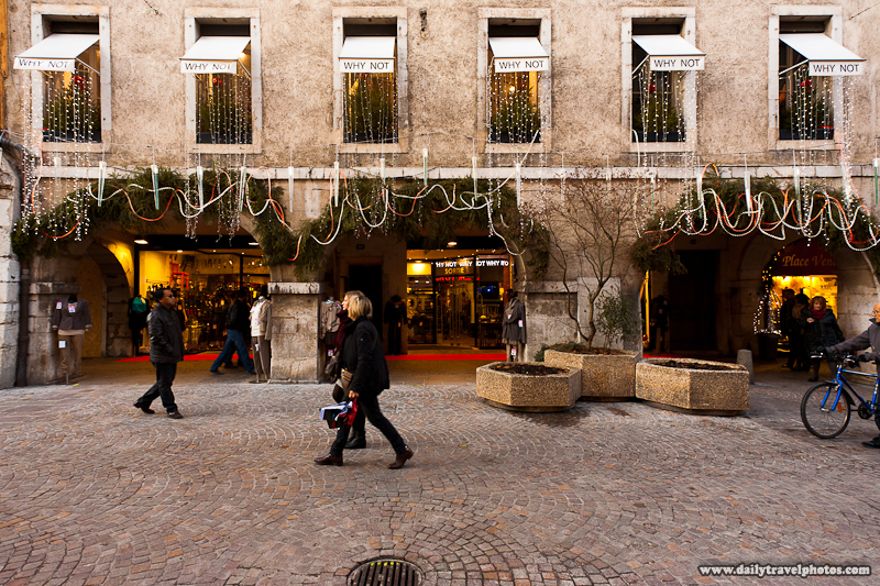 Christmas Shoppers in Old Annecy Shopping Street Decorated Why Not Store - Annecy, Haute-Savoie, France - Daily Travel Photos