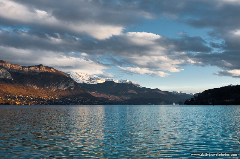 Snow Capped French Alps Mountain Next to Annecy Lake - Annecy, Haute-Savoie, France - Daily Travel Photos