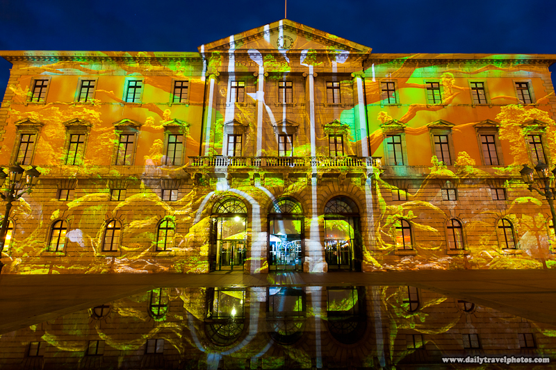 Winter Light Show Against the Walls of Annecy Town Hall - Annecy, Haute-Savoie, France - Daily Travel Photos