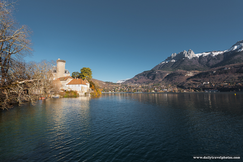 Chateau Ruphy on Annecy Lake Surrounded by French Alps Mountains - Duingt, Haute-Savoie, France - Daily Travel Photos