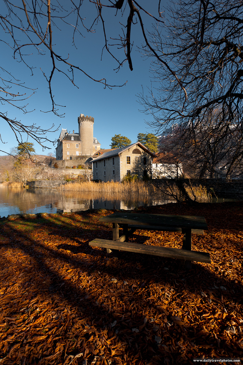 Picnic Table and Fallen Leaves at Chateau Ruphy French Castle near Annecy - Duingt, Haute-Savoie, France - Daily Travel Photos