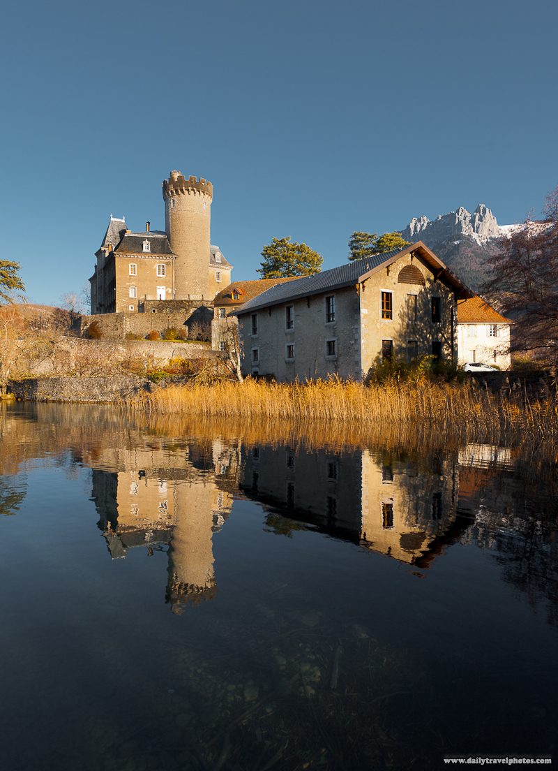 Chateau Ruphy French Castle Reflected in Waters of Annecy Lake - Duingt, Haute-Savoie, France - Daily Travel Photos