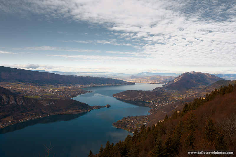 Annecy Lake Overview Seen from Col de la Forclaz - Annecy, Haute-Savoie, France - Daily Travel Photos