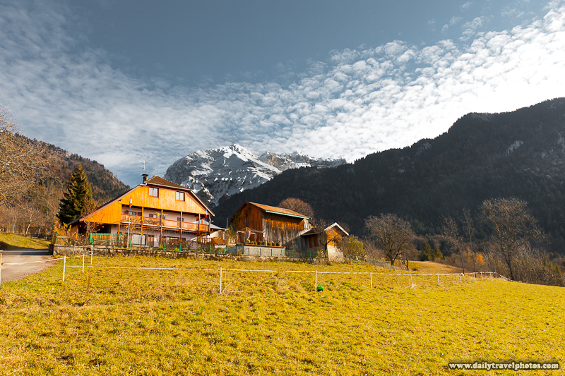 Cliche Wooden Chalet Among Snow-Capped French Alps - Ponnay, Haute-Savoie, France - Daily Travel Photos