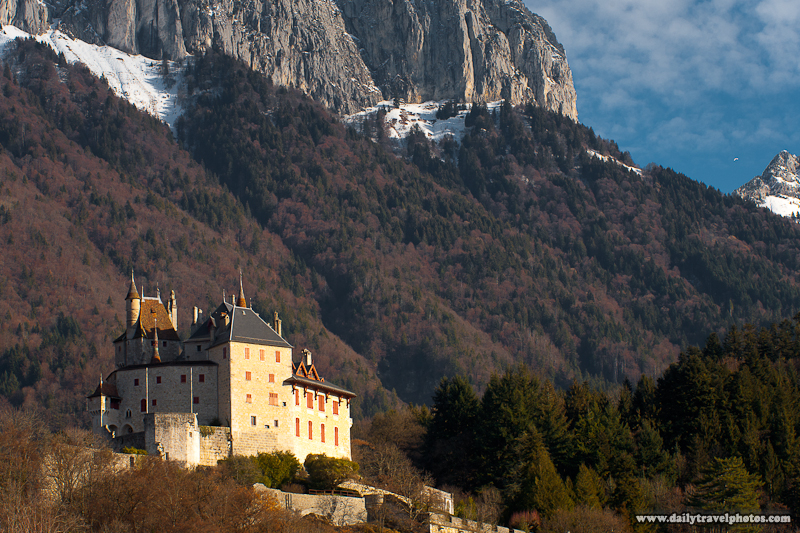 French Castle Among Cliffs and Peaks of French Alps Chateau - Menthon-Saint-Bernard, Haute-Savoie, France - Daily Travel Photos