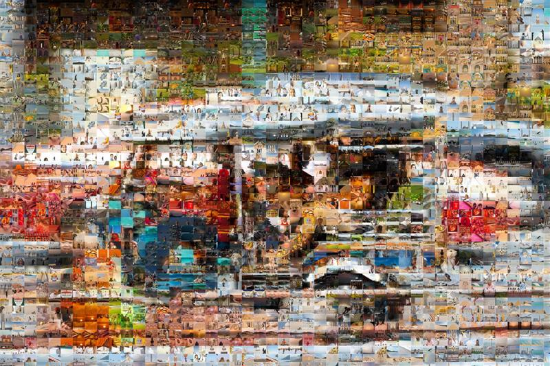 Songkran Water Fight Tuk Tuk Mosaic - Many Places, Around The World - Daily Travel Photos